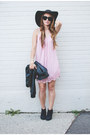 Light-pink-slip-forever-21-dress-black-felt-forever-21-hat