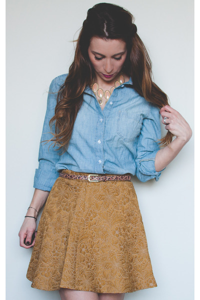 gold Club Monaco skirt - chambray H&M shirt - leopard print asos belt