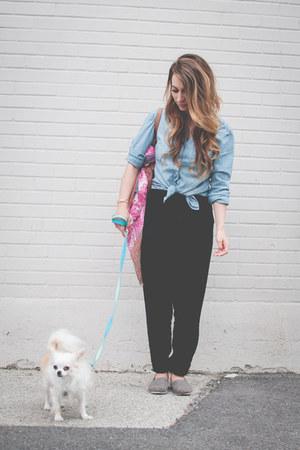 gray TOMS shoes - light blue chambray H&M shirt