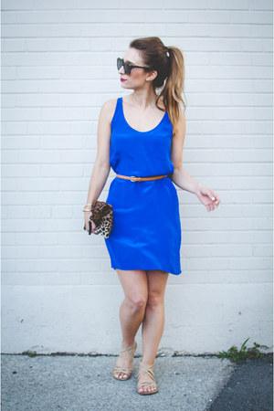 blue slip French Connection dress - brown leopard print Clare V bag