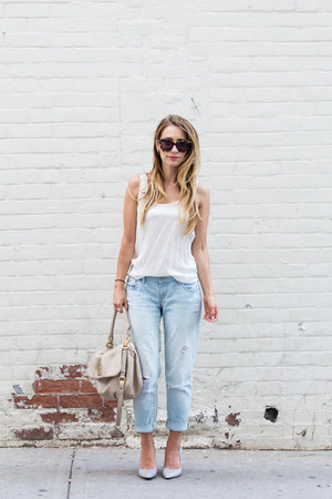 light blue boyfriend Old Navy jeans - navy pumps Club Monaco shoes