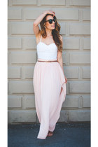 light pink maxi Forever 21 skirt - brown tortoise Karen Walker sunglasses
