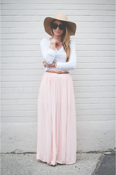 Light Pink Maxi Skirt Skirt | Chictopia