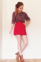 maroon vintage blouse - burnt orange boots - gold necklace