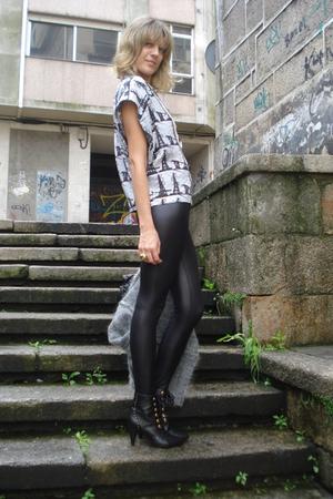 Topshop leggings - Topshop shirt - H&M boots