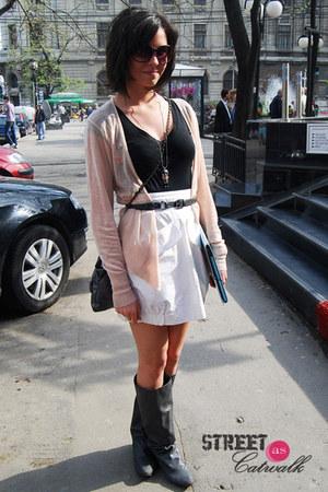 boots - dress - bag - glasses - belt - necklace