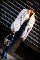 black Forever 21 boots - silver fauz fur Zara coat - blue J Brand jeans - black
