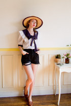 white sailor vintage blouse - tawny vintage hat