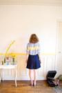 Light-blue-mohair-crop-top-vintage-sweater-navy-vintage-skirt