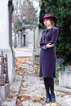 magenta asos hat - navy vintage boots - heather gray vintage dress