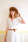 Cream-lace-70s-vintage-dress-bronze-panama-western-vintage-hat
