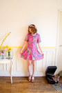 Hot-pink-babydoll90s-vintage-dress-violet-flower-crown-handmade-hair-accessory