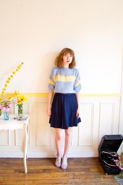 light blue mohair crop top vintage sweater - navy vintage skirt