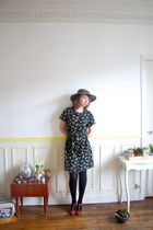 1990s Agnes B dress / S-M/ French Designer / Lily of the Valley / pan collar
