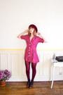 Crimson-granny-vintage-boots-maroon-90s-polka-dot-vintage-dress