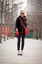 black Zara shoes - dark brown faux fur kate spade sweater