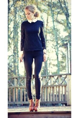 boots - lace top - pants