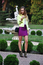 magenta Celeb boutique skirt - black Zara shoes - chartreuse Topshop jacket