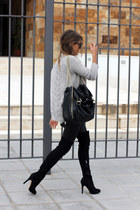 black Bershka boots - black Zara bag - emporio armani sunglasses
