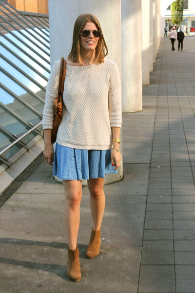 bronze Mango boots - sky blue jeans H&M dress - bronze Marc by Marc Jacobs bag