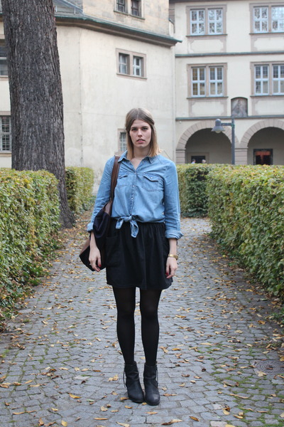 sky blue Only blouse - black acne boots - navy Marni x H&M bag