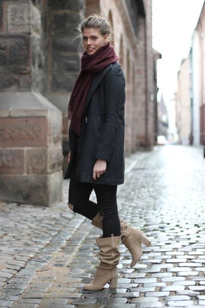 beige Zara boots - dark gray Mango coat - crimson COS scarf