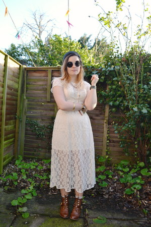 brown tan Primark boots - eggshell lace Primark dress - black circle H&M glasses