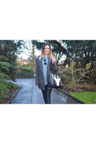 sky blue Ebay shirt - gray woolen Primark coat - black disco pants Ebay pants
