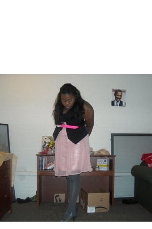 forever 21 dress - Forever21 belt - Forever21 tights - Old Navy shoes - bf vest