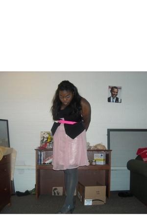forever 21 dress - Forever21 belt - Forever21 tights - Old Navy shoes - bf vest