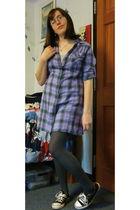 purple Converse dress - gray tights - black Converse shoes