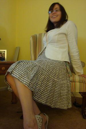 white Forever 21 jacket - white homemade skirt - orange shirt - white vintage ne