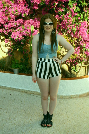 shorts - white dior sunglasses - sandals - silver flimsy accessories - bra