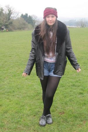vintage coat - Topshop shorts - vintage jumper