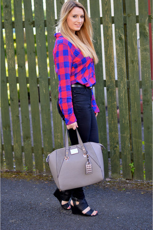 hot pink plaid Rails shirt - black skinny jeans Topshop jeans