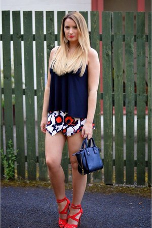 black Target bag - red skort shorts - red strappy new look sandals