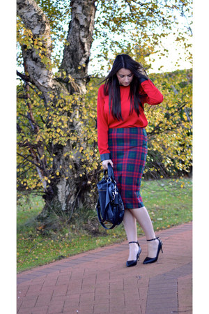 ruby red tartan Topshop skirt - red chiffon Zara top