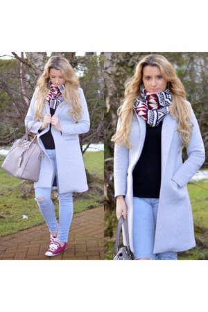 silver OASAP coat - light blue Topshop jeans - crimson scarf - silver bag
