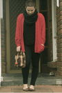 Red-thrifted-cardigan-black-bardot-top-black-fcuk-leggings-gray-cowl-sport