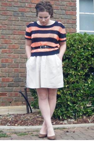 orange bardot top - beige Witchery skirt - blue Belt belt - brown wedges shoes -