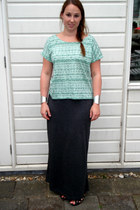 teal New Yorker t-shirt - dark gray New Yorker skirt - black Primark sandals - s