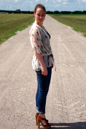 blue Cheap Monday jeans - off white Primark cardigan - tawny H&M heels