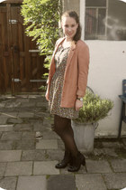 bronze H&M dress - black Sacha boots - burnt orange H&M blazer