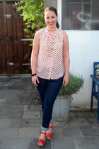 blue H&M jeans - cream H&M Trend blouse - red Swedish Hasbeens x H&M clogs