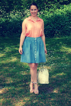 cream Primark bag - peach new look blouse - light blue Monki skirt - neutral H&M