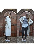 white shirt - off white trenchcoat H&M coat - black Primark leggings