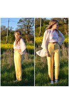 bubble gum top - light yellow Topshop pants - ivory cream kimono cardigan