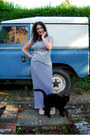Heather-gray-primark-t-shirt-navy-striped-maxi-self-made-skirt
