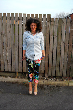 black H&M pants - light blue denim shirt Primark shirt