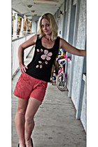 salmon Mossimo shorts - black K-Jeans blouse - maroon Parade Collection clogs